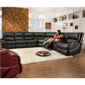 Southern Motion Shazam  Six Seat Reclining Sectional Sofa with Cup-Holders and Storage Console