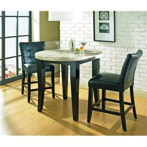 Steve Silver Monarch 7 Pc. Marble Veneer Top Leg Table with Parson Chairs