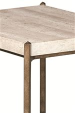 Travertine Stone Top With Metal Base