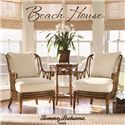 Tommy Bahama Home Beach House Two-Drawer Palm Coast Sofa Table with Rattan & Bamboo Accents