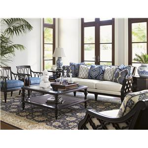 Tommy Bahama Home Royal Kahala Koko Raffia Chair with Contrasting Cushions