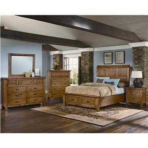 Vaughan Bassett Timber Mill King-Size Wood Timber Panel Bed With Reclaimed Look