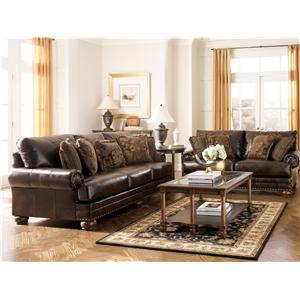 Signature Design by Ashley Furniture Chaling DuraBlend® - Antique Stationary Living Room Group