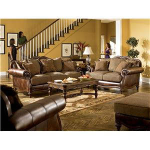 Signature Design by Ashley Furniture Claremore - Antique Stationary Living Room Group