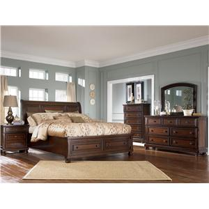 Ashley Furniture Porter Queen Sleigh Bed With Storage Footboard Northeast Factory Direct