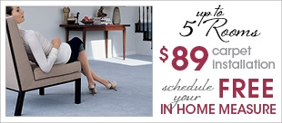 $89 carpet install and free in home measure
