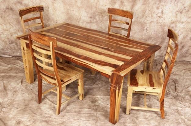 Dining, bedroom, and occasional tables made from Indian Sheesham wood.  Second only to Brazilian Cherry as the hardest wood in the world, Sheesham has a beautiful irregular grain structure which gives it it's very distinctive appearance.