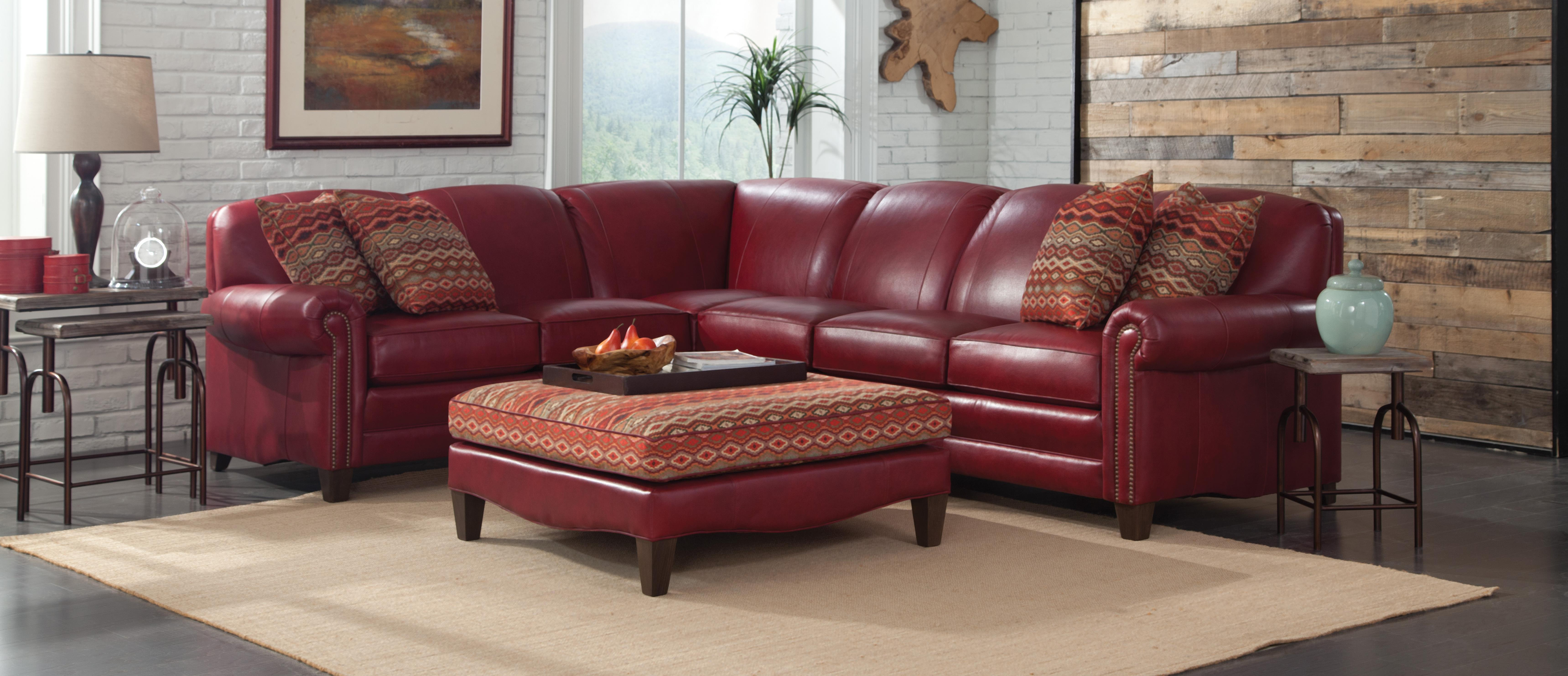 Red Sectional with Pillows