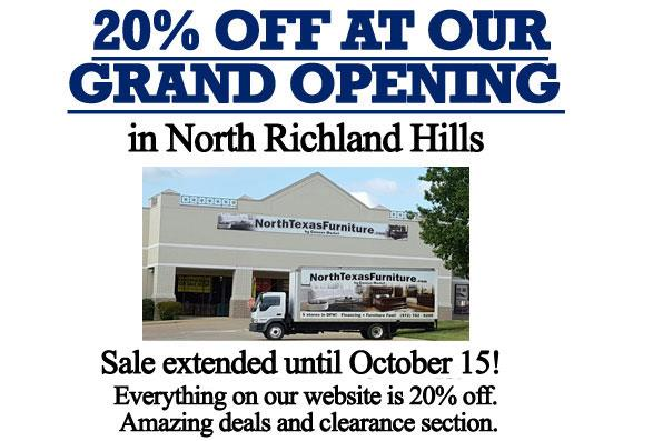 20% off at our Grand Opening in North Richland Hills!