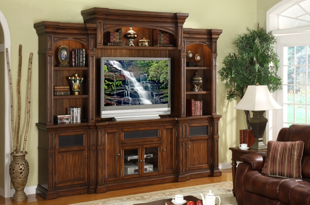 We carry a huge assortment of entertainment furniture.  TV consoles and stands, complete wall units, TV dressers, in many sizes and colors.