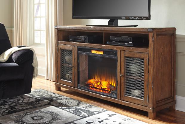Classic rustic design with sturdy features give this TV stand a timeless appearance.