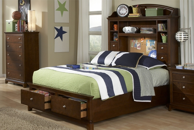 Maximize space in a small room with a storage headboard AND storage footboard!