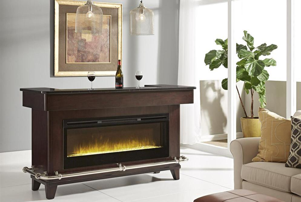Not only is the Evo Bar good looking, it is the life of the party with an electric fireplace and complete sound system.