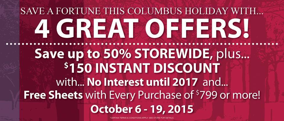 Columbus Holiday Sale