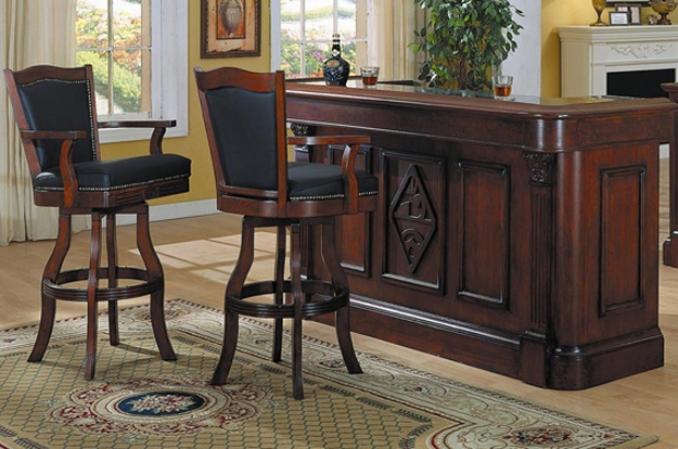 With dynamic old world finishes, choose from some of the most functional in-home entertainment options. Many barstools are available to compliment your room.