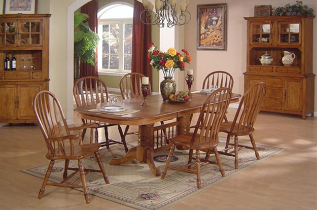 You'll love our wide selection of Light Oak and Burnished Oak sets for your Dining Room or Kitchen. From tables and chairs, to buffets and servers, we have it all!