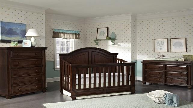Dark brown baby room and crib