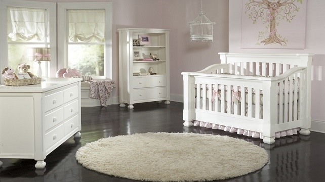 White crib and baby room