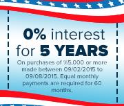 0% interest for 5 years