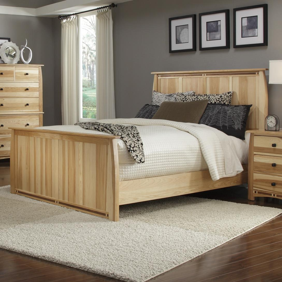 queen solid hickory panel bed with steam bent headboard footboard
