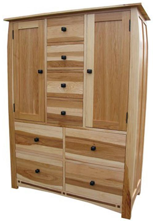 Solid Hickory Double Door Chest With Solid Walnut Inlay