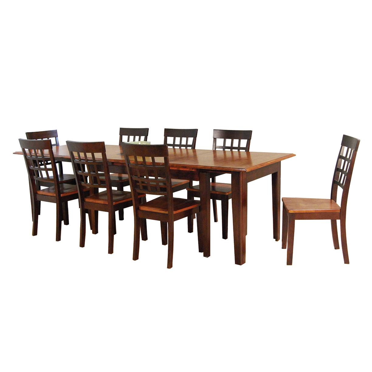 9 Pc. Accordion Leg Table Set With Grid Back Chairs