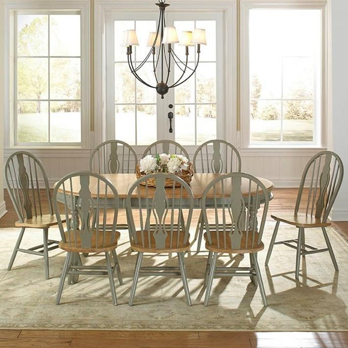 9 Piece Oval Table and Keyhole Chair Dining Set by AAmerica | Wolf ...