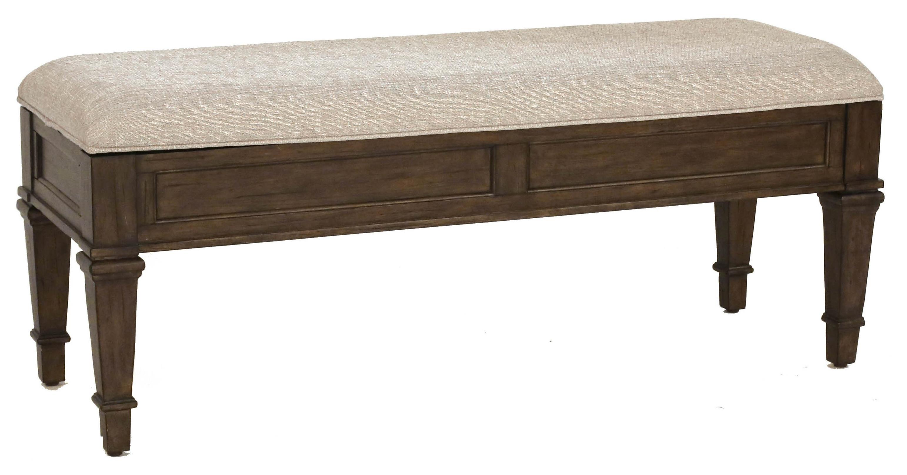 Solid Mahogany Upholstered Storage Bench With Piano Hinge
