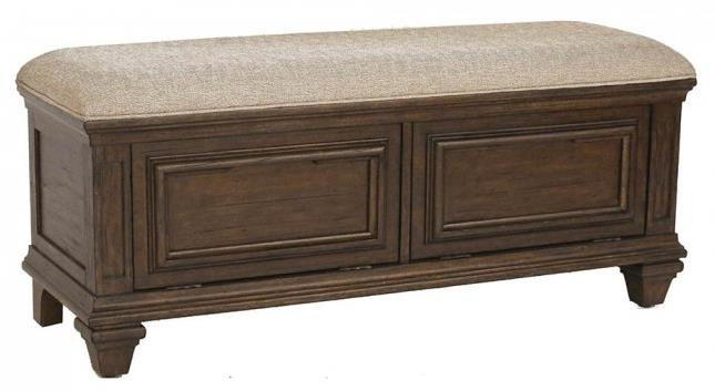 Solid Mahogany Upholstered Storage Bench With Bottom Hinge Doors