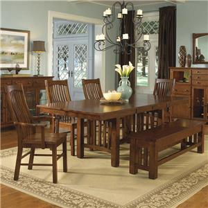 AAmerica Laurelhurst Rectangular Table & 4 Chairs with Bench