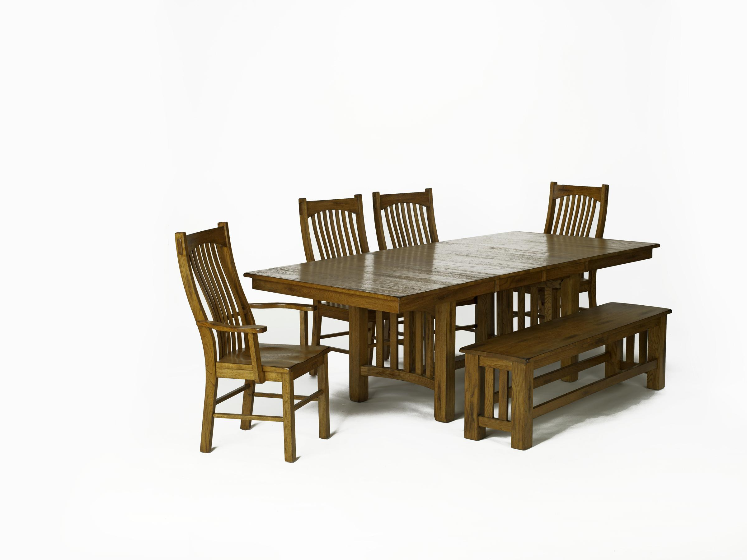 Rectangular Trestle Table With 2 Arm Chairs 2 Side Chairs