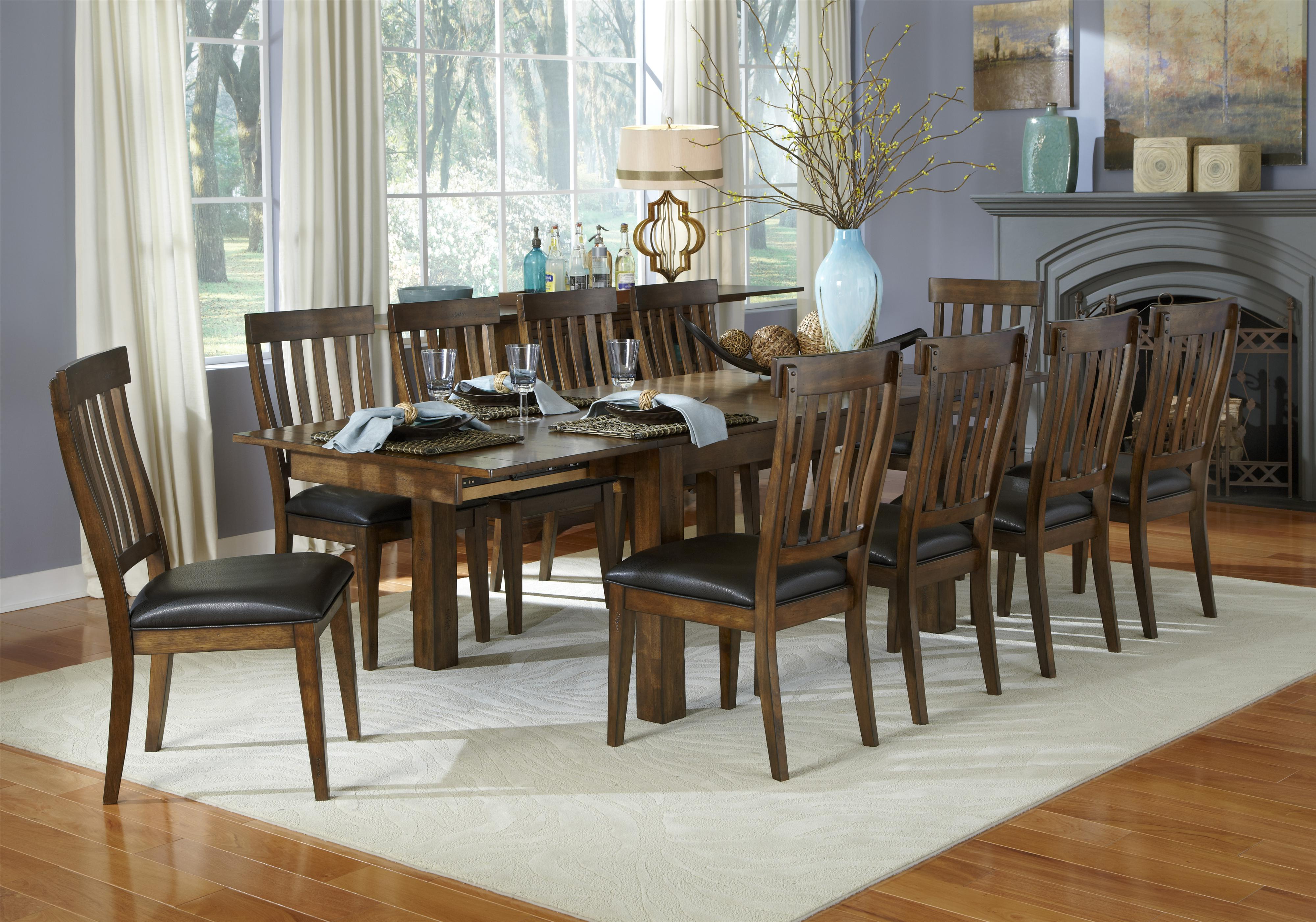 Attractive 11 Piece Dining Table And Slatback Chairs Set