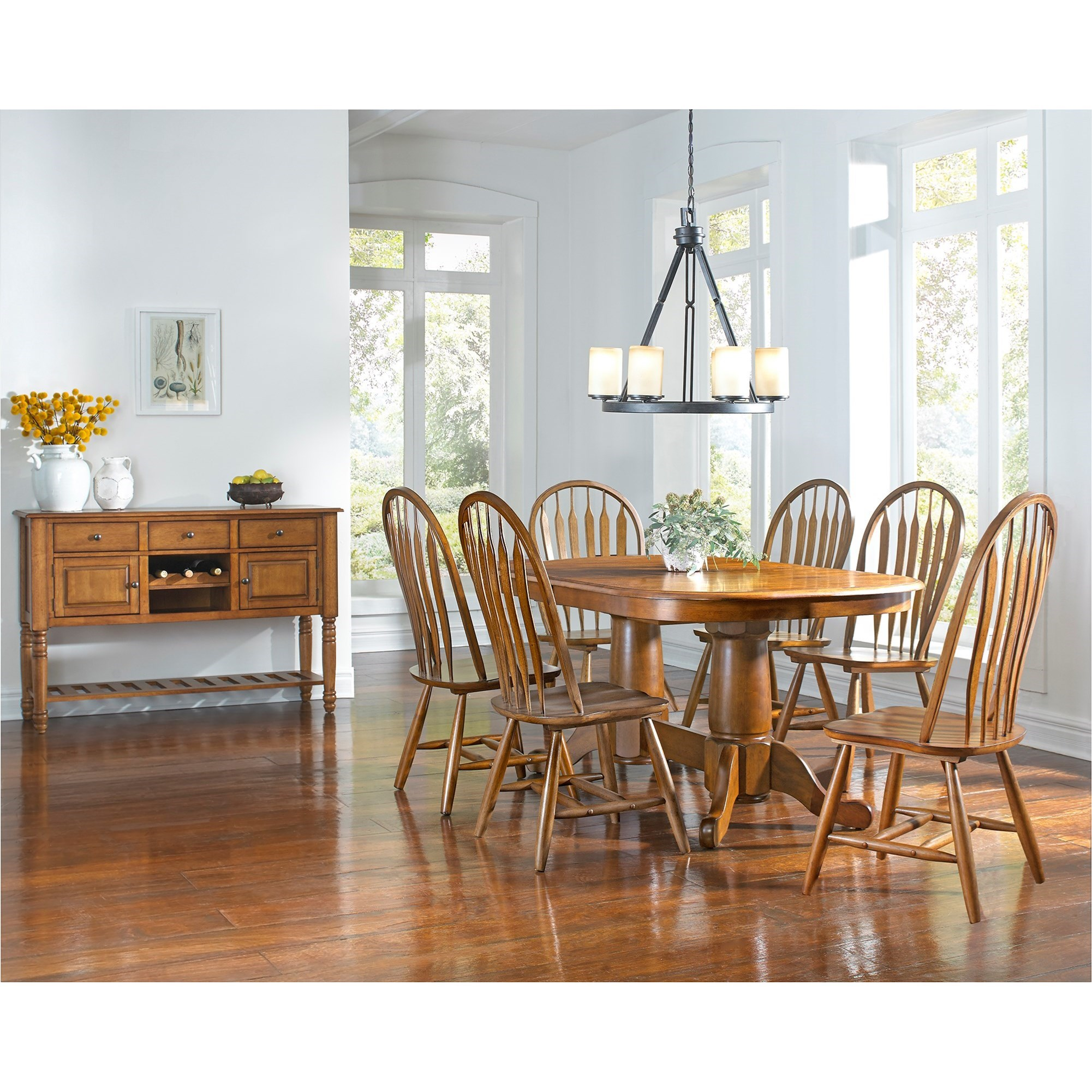 trestle dining table with self storing butterfly extension leaf by