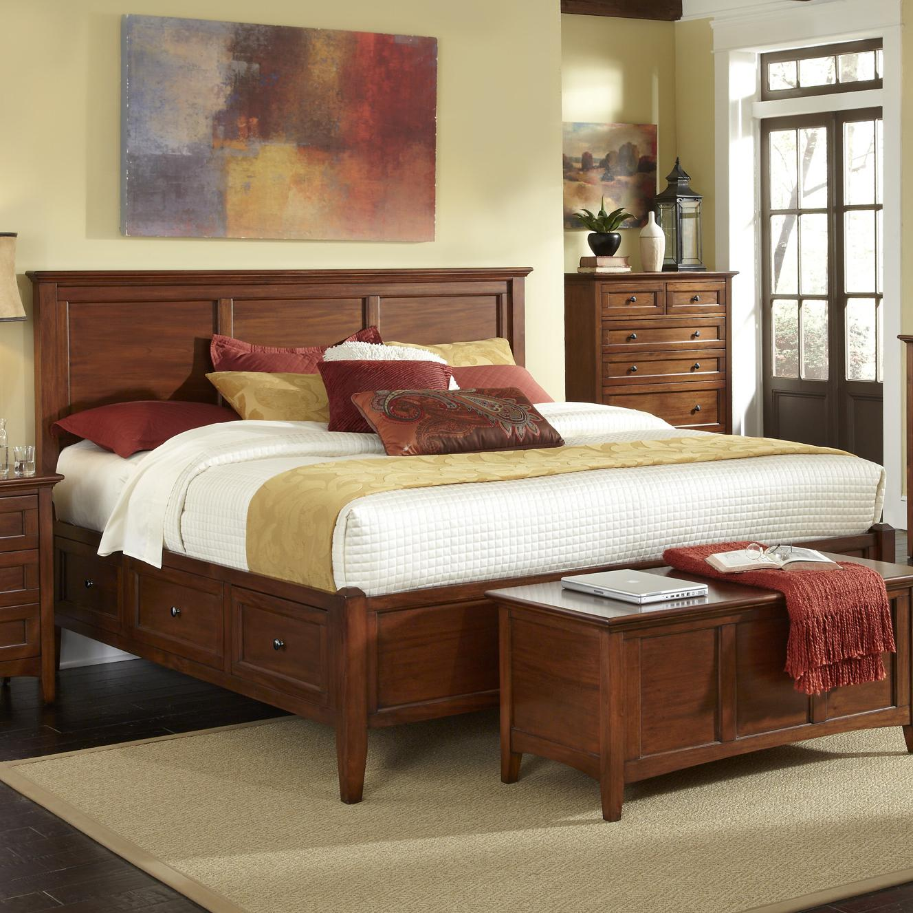 Transitional Queen Bed With 6 Storage Drawers By Aamerica