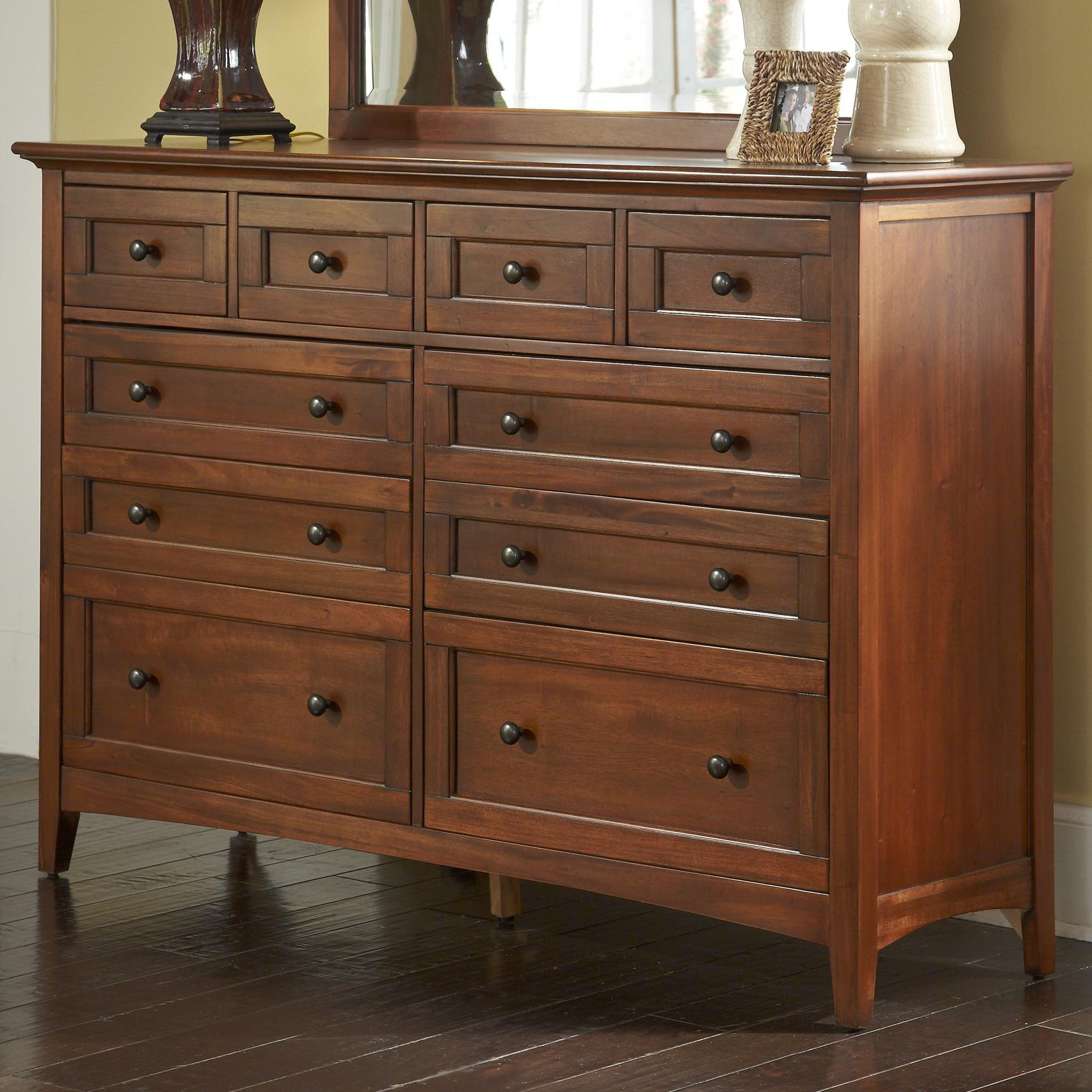 Transitional 10 Drawer Dresser With Felt Lined Top Drawers