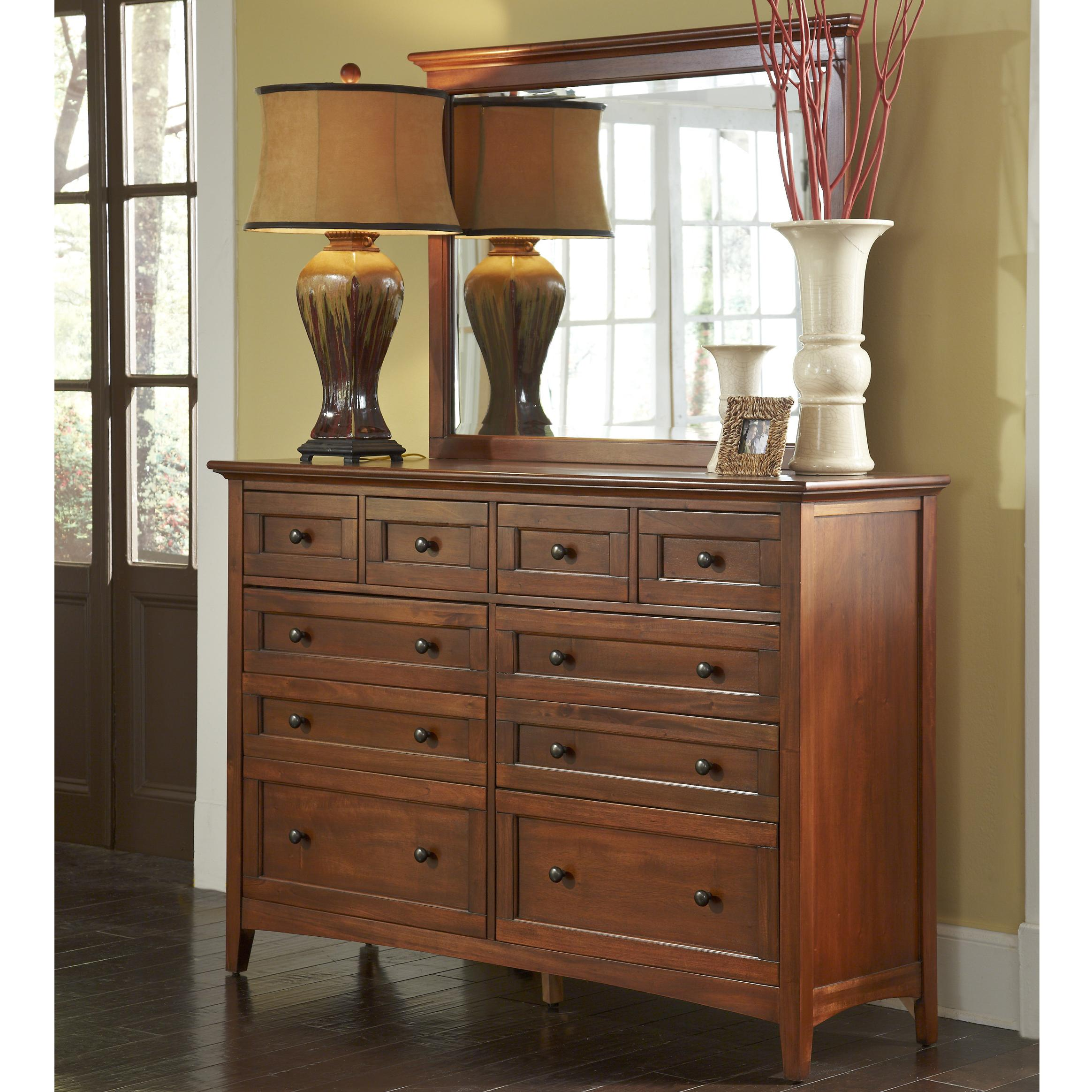 Transitional 10 Drawer Dresser with Felt Lined Top Drawers by