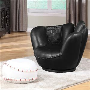 Acme Furniture All Star Baseball Bk Glove Chair & Ottoman