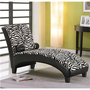 Acme Furniture Anna Zebra Zebra Pu Lounge Chaise