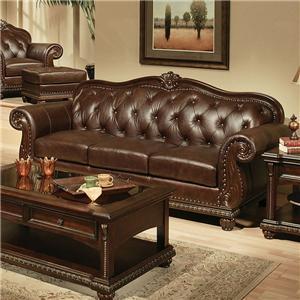 Acme Furniture Anondale Cherry Top Grain Leather Sofa