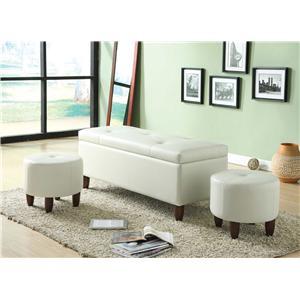 Acme Furniture Ibrahim  Bench & 2 Ottomans