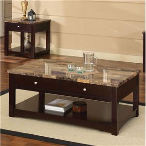 Acme Furniture Jas Faux Marble Coffee Table with Lift Top