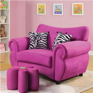 Acme Furniture Lucy Youth Chair and Flower Ottoman