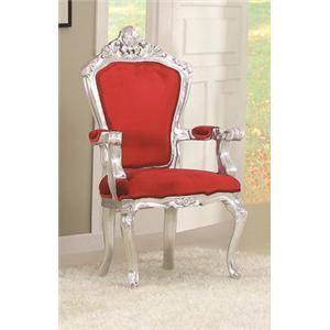 Acme Furniture Salim Silver & Red Accent Chair