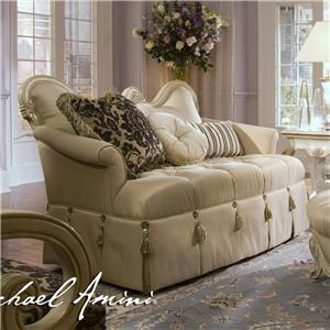 Michael Amini Lavelle Wood Trim Settee