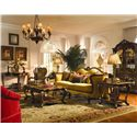 Michael Amini Palais Royale Rectangular End Table with Hand-Carved Details - Shown with Wood Trim Sofa, Fabric Wood Chair, Cocktail Table, Sofa Table, and Curio