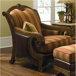 Michael Amini Tuscano Wood Trim Leather/ Fabric Chair