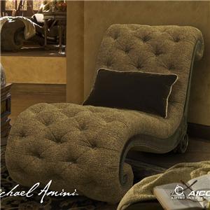 Michael Amini Vizcaya Leather/Fabric Armless Chaise