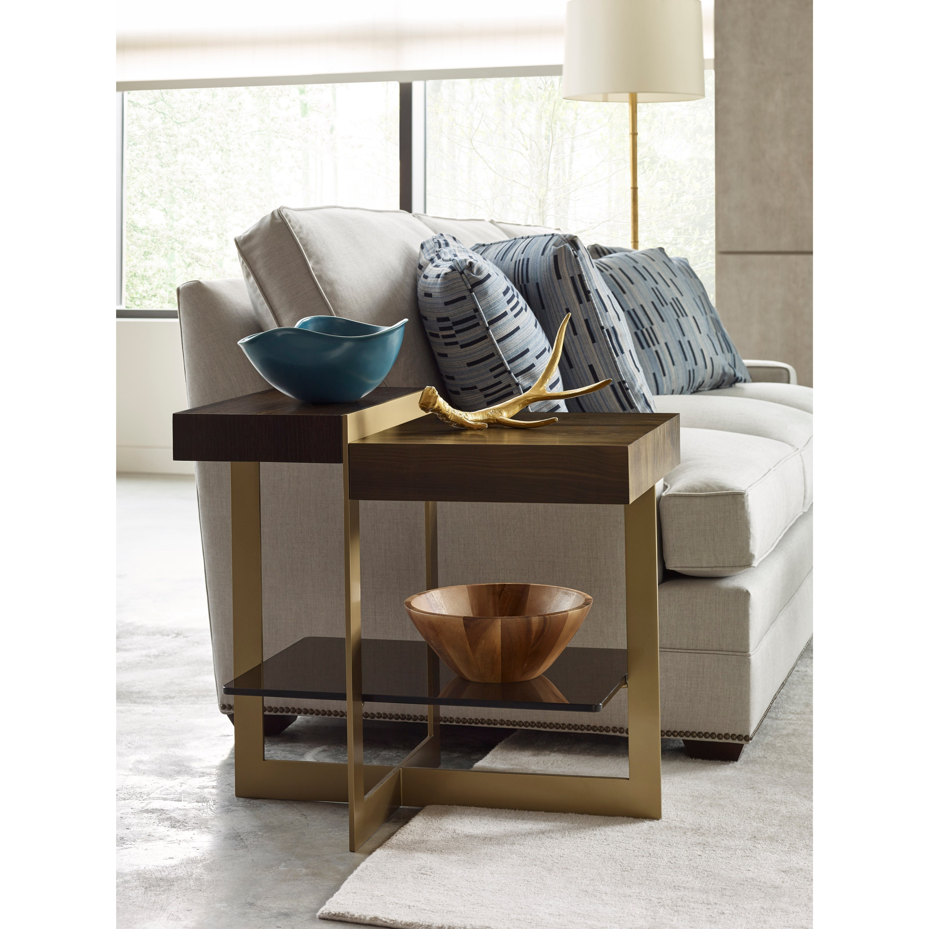 Winkler End Table with Tempered Bronze Glass Shelf by American