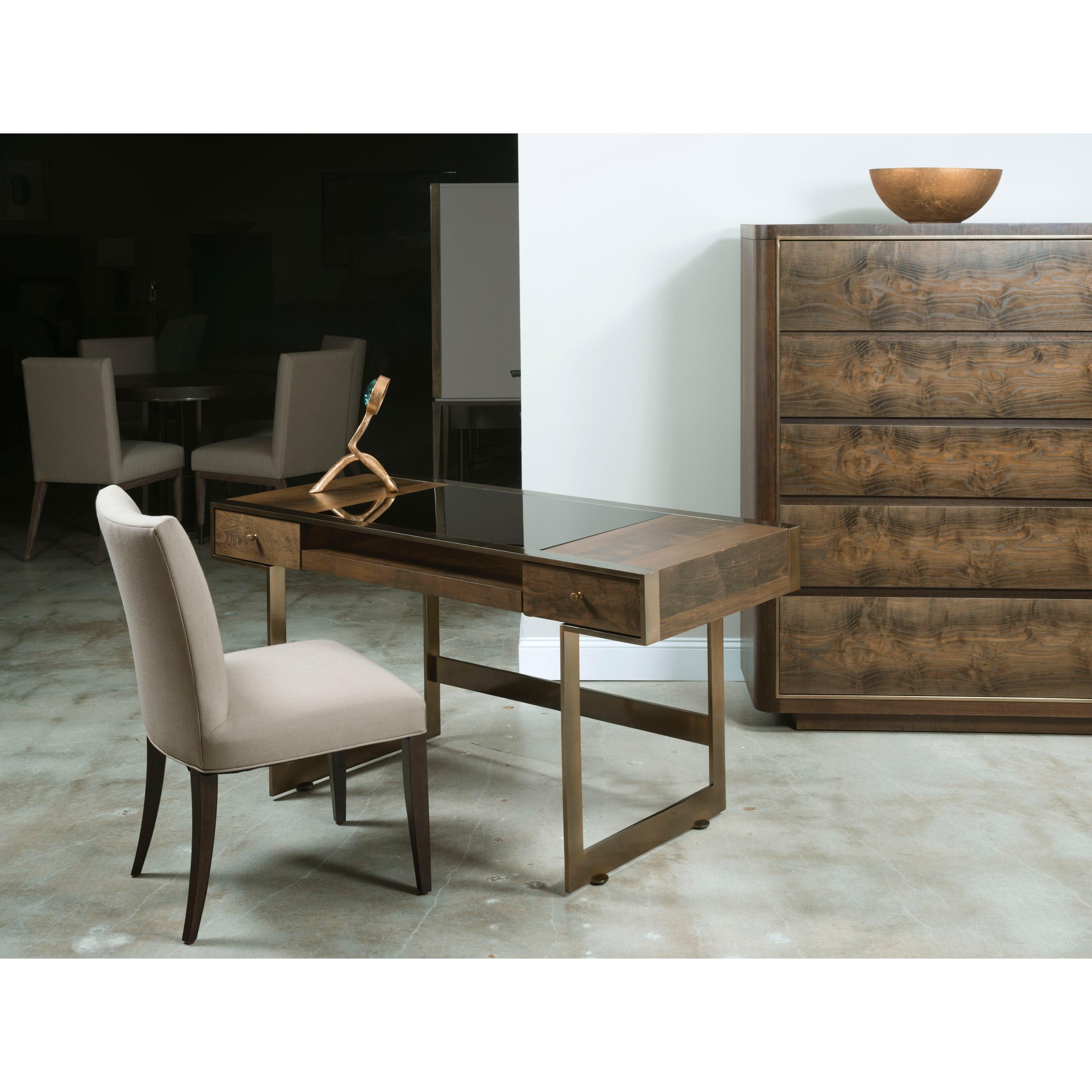 Risden Desk with Bronze Glass Top Insert by American Drew