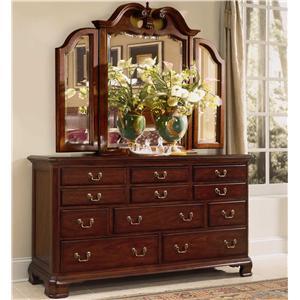 American Drew Cherry Grove 45th Triple Dresser and Tri-fold Mirror